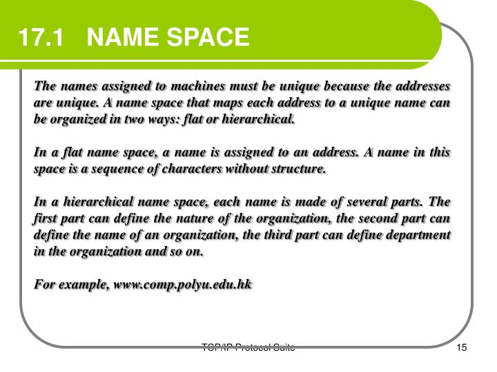 17.1   NAME SPACE
