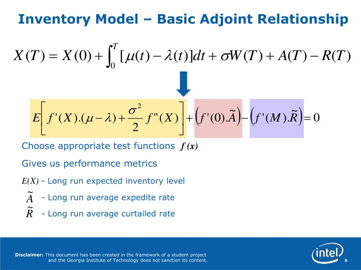 Inventory Model – Basic Adjoint Relationship
