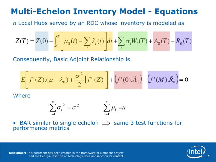 Multi-Echelon Inventory Model - Equations