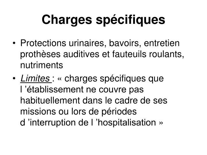 Charges spécifiques
