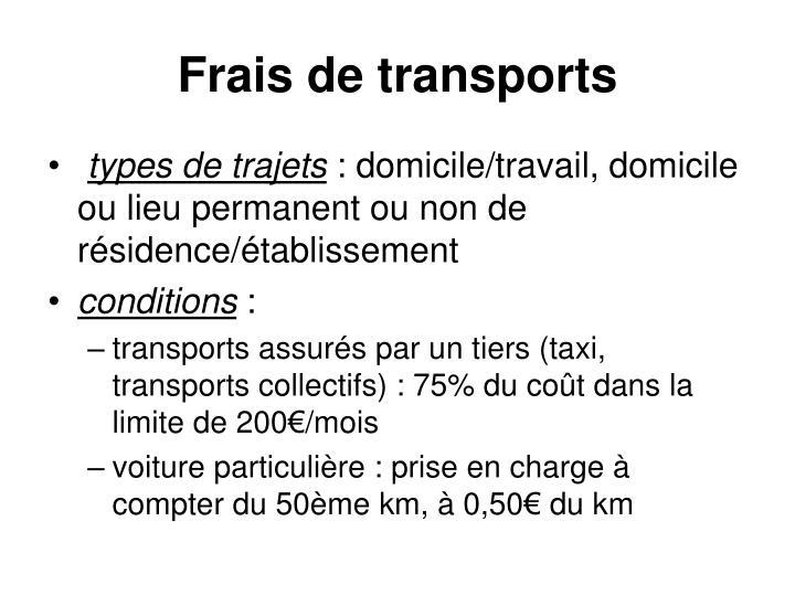 Frais de transports