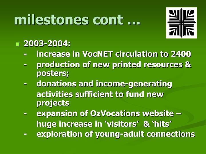 milestones cont …