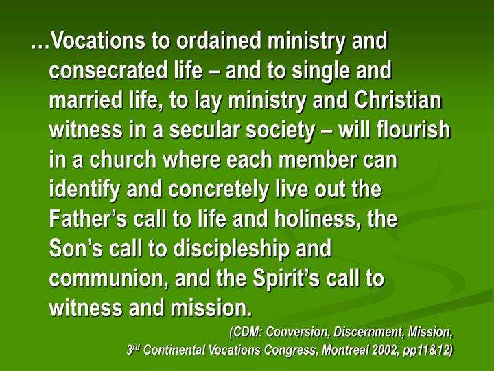 …Vocations to ordained ministry and consecrated life – and to single and married life, to lay ministry and Christian witness in a secular society – will flourish in a church where each member can identify and concretely live out the Father's call to life and holiness, the Son's call to discipleship and communion, and the Spirit's call to witness and mission.