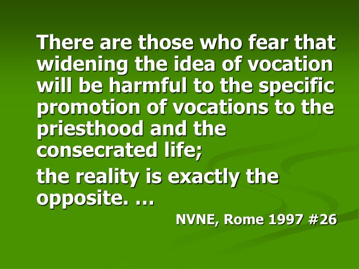 There are those who fear that widening the idea of vocation will be harmful to the specific promotion of vocations to the priesthood and the consecrated life;