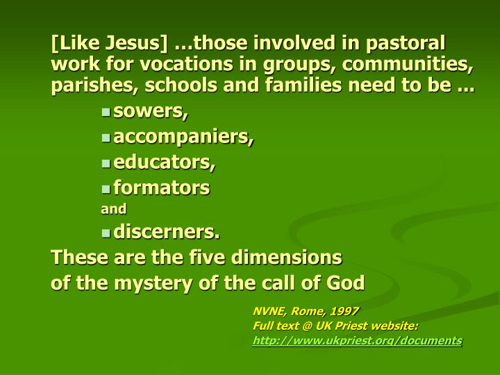[Like Jesus] …those involved in pastoral work for vocations in groups, communities, parishes, schools and families need to be ...