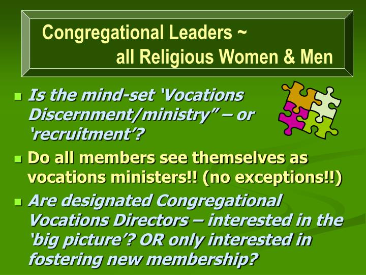 Congregational Leaders ~