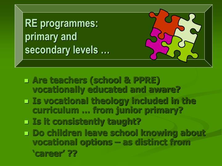 RE programmes: