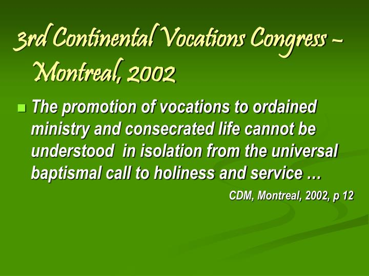 3rd Continental Vocations Congress –