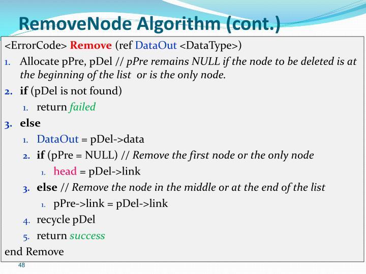 RemoveNode Algorithm (cont.)
