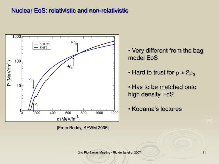 Nuclear EoS: relativistic and non-relativistic
