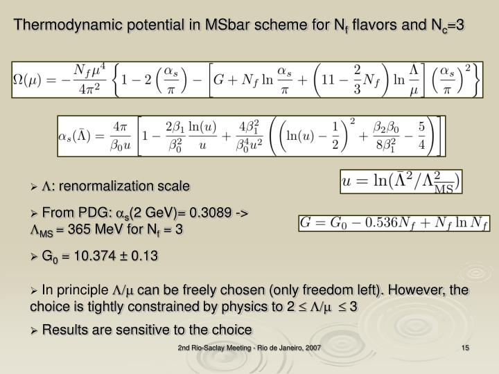 Thermodynamic potential in MSbar scheme for N