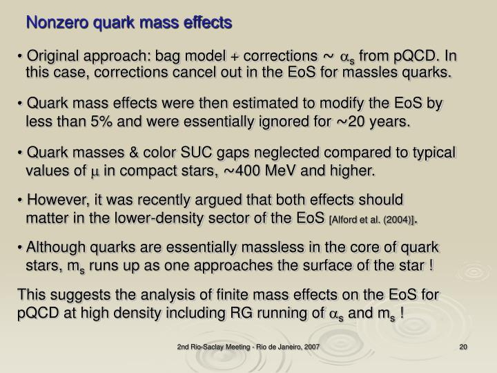 Nonzero quark mass effects