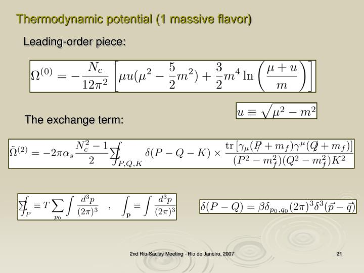 Thermodynamic potential (1 massive flavor)
