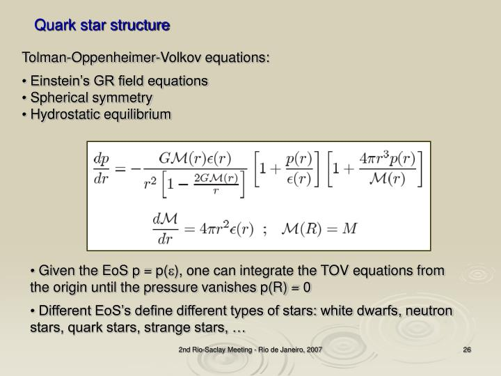 Quark star structure