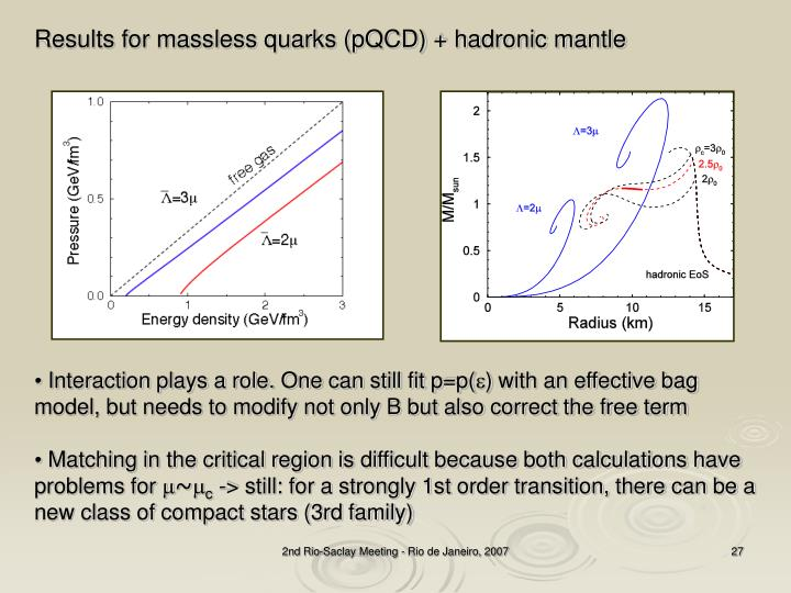 Results for massless quarks (pQCD) + hadronic mantle