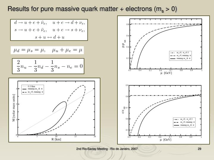 Results for pure massive quark matter + electrons (m