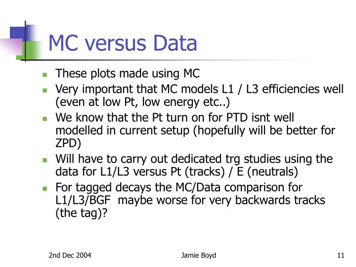 MC versus Data