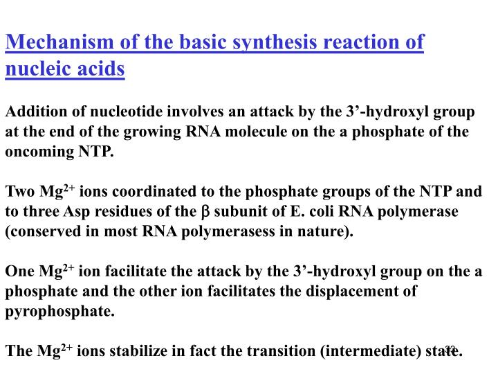 Mechanism of the basic synthesis reaction of nucleic acids