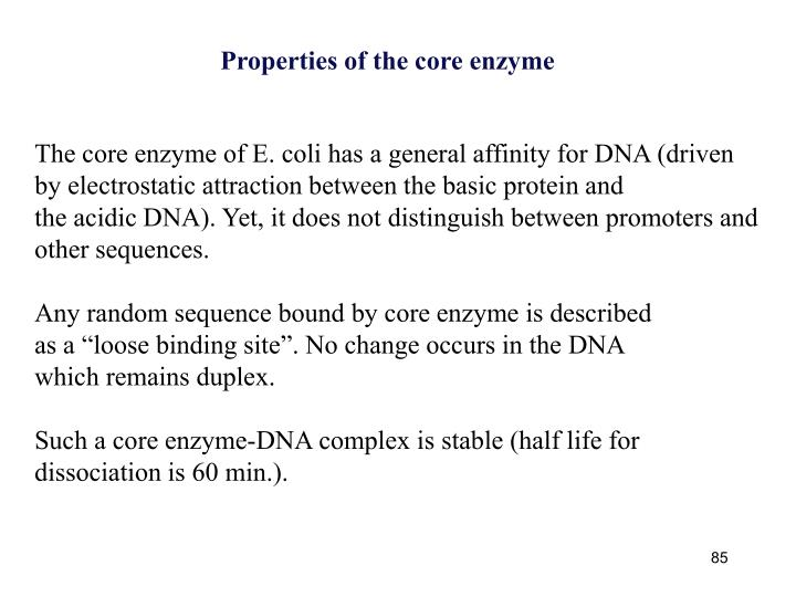 Properties of the core enzyme
