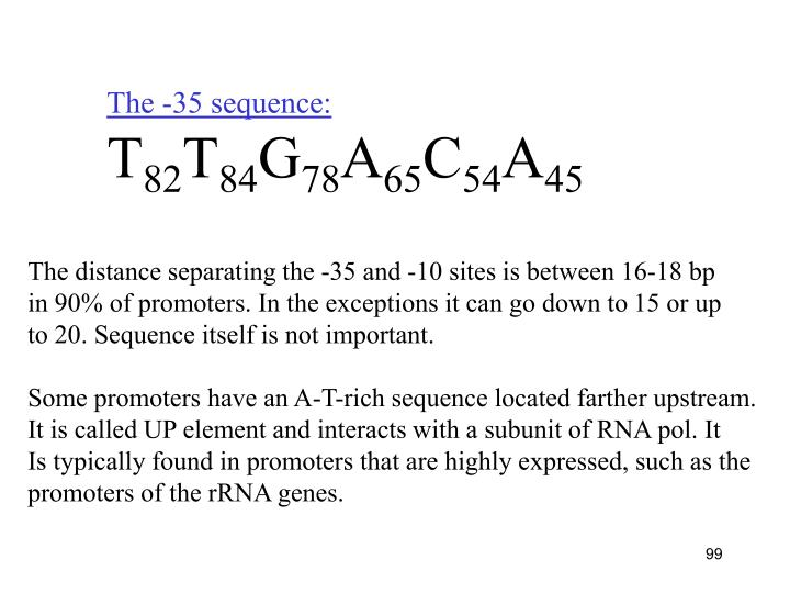 The -35 sequence: