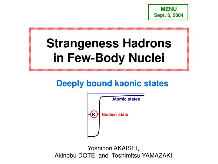 Strangeness hadrons in few body nuclei