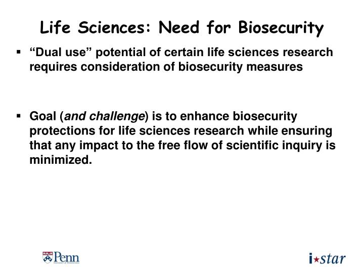 Life Sciences: Need for Biosecurity
