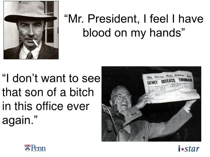 """Mr. President, I feel I have blood on my hands"""