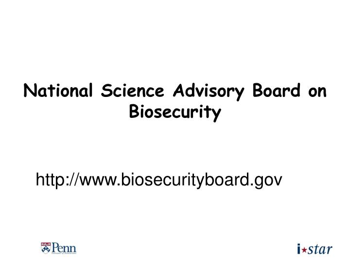 National Science Advisory Board on Biosecurity