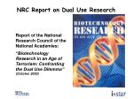 nrc report on dual use research