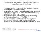 programmable functions are the effects of proteins understand protein synthesis