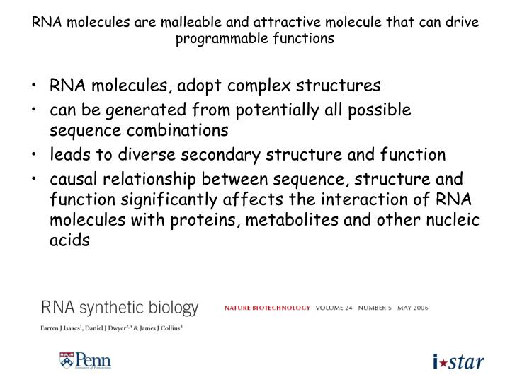 RNA molecules are malleable and attractive molecule that can drive programmable functions