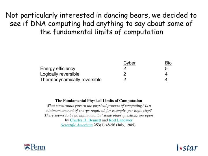 Not particularly interested in dancing bears, we decided to see if DNA computing had anything to say about some of the fundamental limits of computation
