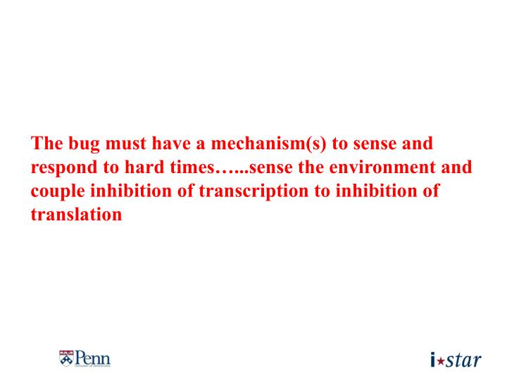 The bug must have a mechanism(s) to sense and respond to hard times…...sense the environment and couple inhibition of transcription to inhibition of translation