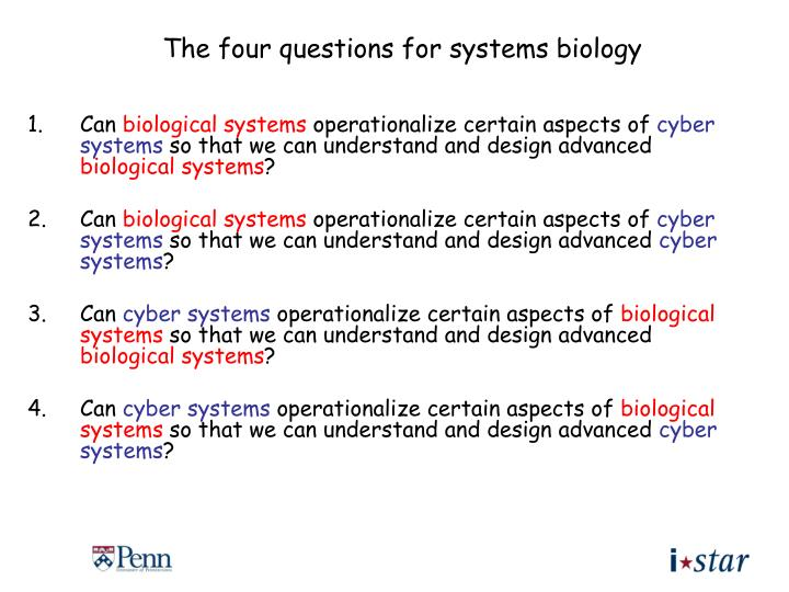 The four questions for systems biology