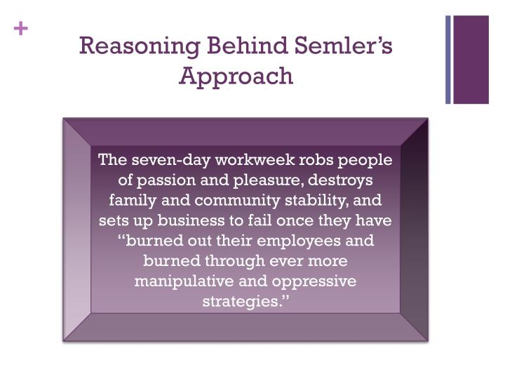 Reasoning behind semler s approach