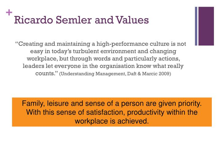 Ricardo Semler and Values