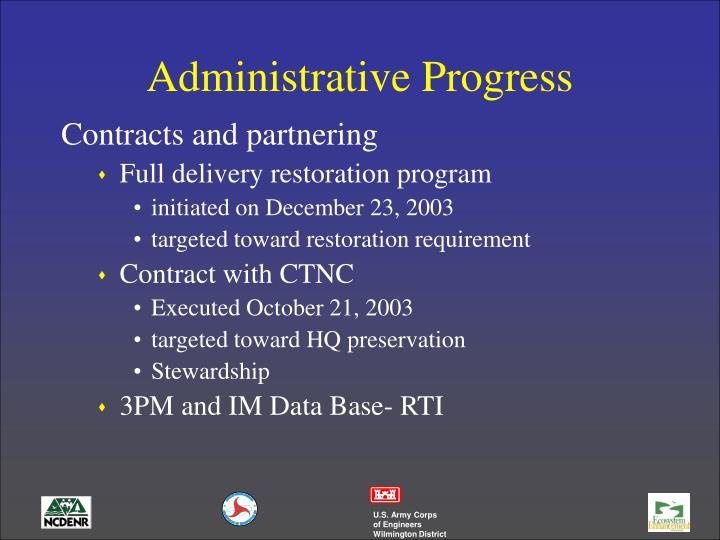 Administrative Progress