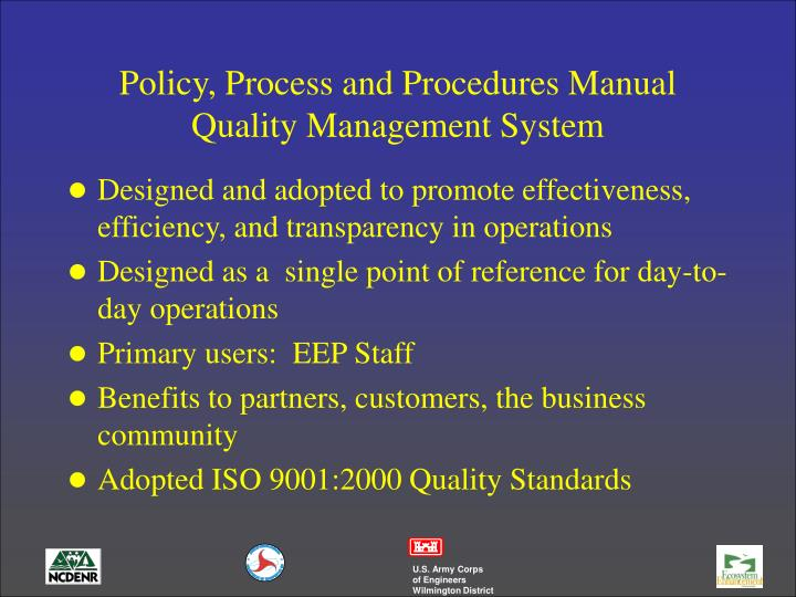 Policy, Process and Procedures Manual Quality Management System