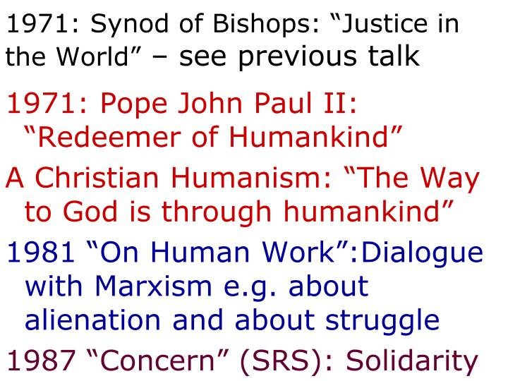 "1971: Synod of Bishops: ""Justice in the World"""
