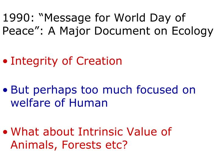 "1990: ""Message for World Day of Peace"": A Major Document on Ecology"