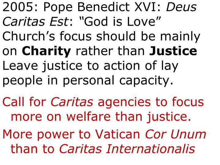 2005: Pope Benedict XVI: