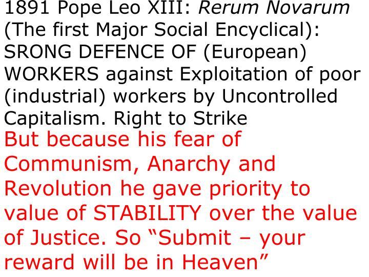 1891 Pope Leo XIII: