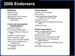 2008 endorsers