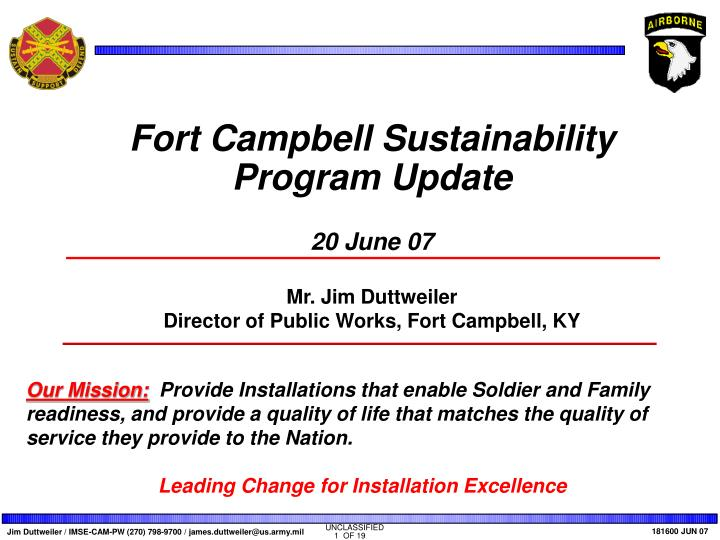 Fort Campbell Sustainability Program Update