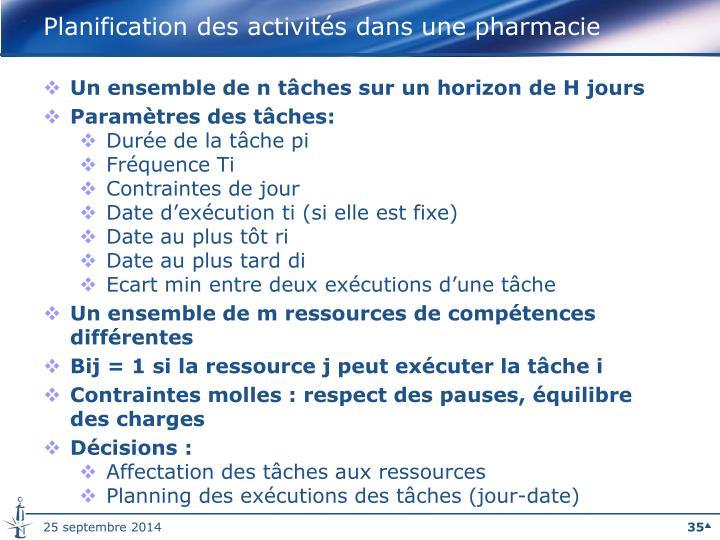 Planification des activités dans une pharmacie