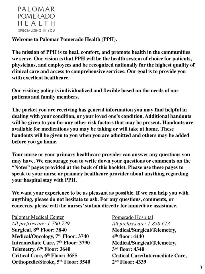 Welcome to Palomar Pomerado Health (PPH).