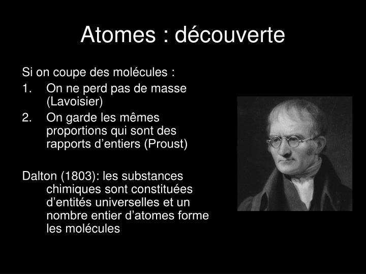 Atomes : découverte