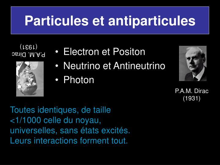 Particules et antiparticules