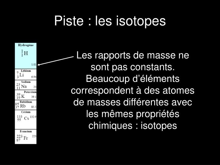 Piste : les isotopes