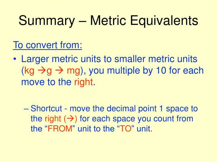 Summary metric equivalents